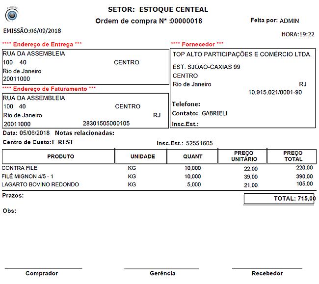 F-Rest - Ordem de Compra